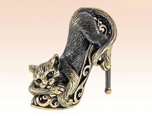 """Cat in a Shoe Figurine Statuette Miniature Bronze 1.65"""""""
