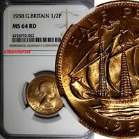 GREAT BRITAIN Elizabeth II 1958 1/2 Penny NGC MS64 RD FULL RED TONING KM# 896