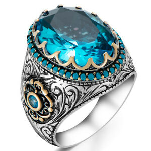 Solid 925 Sterling Silver Blue Topaz Stone Men's Ring with Turquoise Details