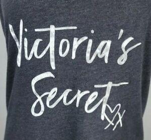 Victorias Secret Medium Heathered Grey Velvet  Spellout Racer Back Tank Top
