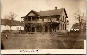 DERBY, Kansas RPPC Real Photo Postcard HOTEL BUILDING Street View c1910s Unused