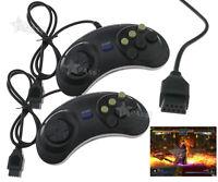 2 Pcs Game Controller Wired Joypad For Sega Mega Drive Genesis PlayStation Black