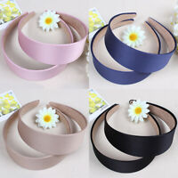 Women Girl Headwear Headband Satin Wide Hair Head Band Plastic Headpiece