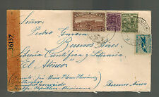 1944 Mexico DF to Buenos Aires Argentina Censored Airmail cover El Ateneo