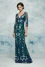 $995 NEW Marchesa Notte Lace Green Embroidered Gown Guipure Dress Flowers 2