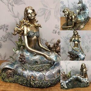 Beautiful Bronzed Effect Mermaid Glittery Tropical Theme Ornament - 4 Designs