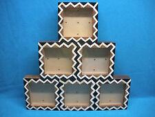 "SET OF 6 HANDCRAFTED SHADOW BOX FRAMES 6"" x 6"" INLAYED HARDWOOD ~ BONE ~HORN~"