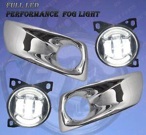 QSC Full LED Fog Lights Lamps Pair w/ LED Arches Chrome Bezel for Kenworth T660