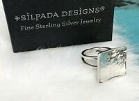 Silpada Square Hammered Sterling Silver Modern Ring Size 5 Retired R1688 .925