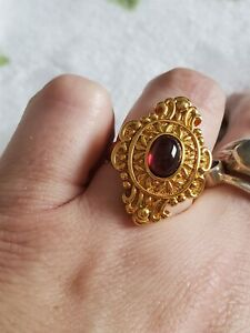 18k Gold FP Ring real 750 Red Cabochon Sz 8 *SEE DESCRIPTION * STUNNING 😍