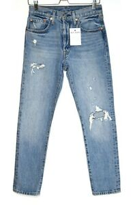 Womens Levis 501 SKINNY High Rise Blue Ripped Jeans Size 8 W26 L28