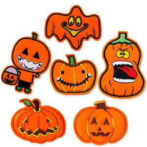 Halloween Pumpkins Jack O Lantern Iron Sew on Embroidered Appliques Patches DIY
