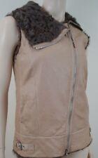BRUNELLO Cucinelli beige sin mangas chaleco de cuero de piel de cordero talla:42 UK10