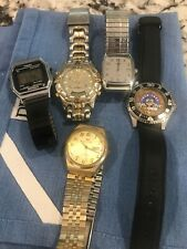 WALTHAM ANTIQUE MENS OLD WRIST Watch Lot NASCAR Timex Indiglo Elgin Lot Of 5