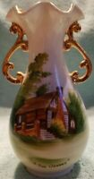 "Vintage Lugenes Japan Hand Painted ""THE OZARKS"" Vase Gold Accents 6-1/4"" RARE"