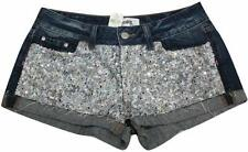 Victoria's Secret Pink Denim Sequins Bling Cheeky Shorts Blue Size 2 NWT