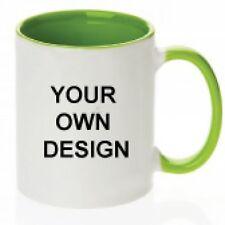 Personalised green rim and Handle 11oz Mug