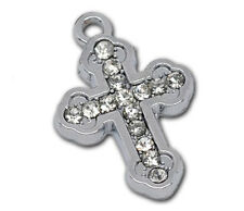 4 Silver Tone Metal and RHINESTONE CROSS Charm Pendants chs1017
