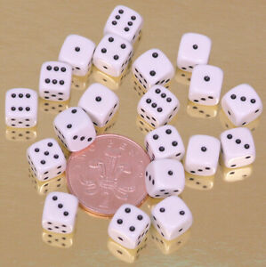 10mm White Spot Dice - 00560 - Pack of 20