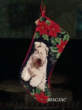 Wheaton Terrier Dog Needlepoint Christmas Stocking NWT