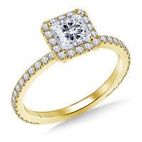 1.00 Ct Diamond Engagement Ring 14K Yellow Gold Princess Cut Rings Size 6.5 7 8