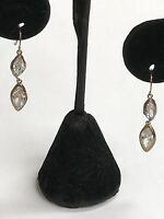 925 Sterling Silver Drop Dangling Gold Tone Earrings With Marquise Topaz Stones