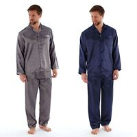 Harvey James Mens Luxury Satin Long Traditional Pyjamas Pyjama Top & Bottoms