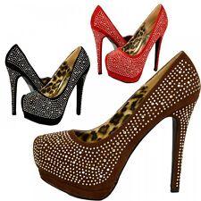 S516 - Ladies High Heeled Diamante Platform Party Evening Shoes - UK 3 - 8