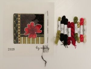 HANDPAINTED NEEDLEPOINT Red Flower on Black/Geometric by Mindy, Threads (44)