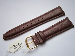 A Gents 20mm Burgundy Vegetable Leather Watch Strap With Gilt Buckle & Pins