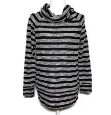 Lou & Grey Maternity Womens Size Small Striped Cowl Neck Black White Sweater