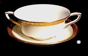 Royal Worcester Ambassador - Gold - Cream Soup Bowl And Saucer