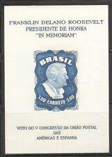 Brazil SC # C76a Franklin Delano Roosevelt . Souvenir Sheet . MNH