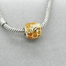 Gold 1pcs Bee CZ European Charm Beads For 925 Bracelet Necklace chain