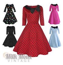Vintage Dress 1950s 1960s Party Red Black Polka Dot Sleeve Collar Size UK 8-22