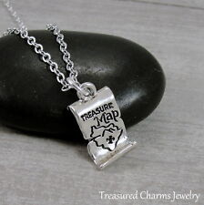 Silver Treasure Map Charm Necklace - Buried Lost Treasure Pirate Jewelry NEW