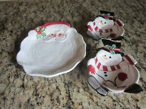 FITZ and FLOYD Santa Platter - 2 Snowmen Candy Dishes