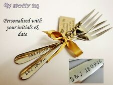 2 Personalised Initials & Date Hand Stamped Wedding Celebration Cake Forks