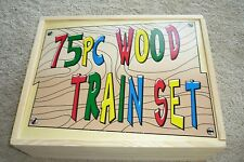 NEW  75  PIECE  WOOD  TRAIN  SET  STORED  IN WOOD  BOX