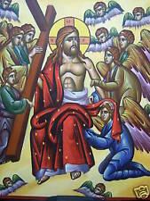 JESUS IN HEAVEN  HUGE HAND PAINTED GREEK ORTHOD ICON