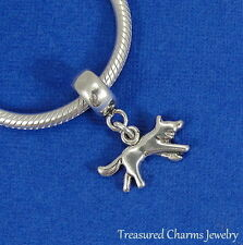 .925 Sterling Silver WOLF Dangle Bead CHARM fits EUROPEAN Bracelet