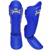 """Top King Shin Pads Guards /""""Pro/"""" Leather TKSGP-GL Black  Express Delivery"""
