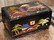 Vintage Japanese Music Jewelry Box Hand Painted Wood LAQUER Japan Scene Mt Fuji
