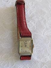 Montre mécanique femme ancienne AUREX fonctionne bracelet cuir rouge