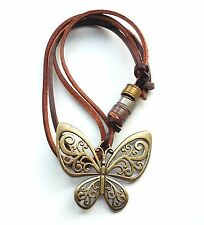 Butterfly Necklace Pendant Leather Vintage Bohemian Boho Statement Jewelry Gold