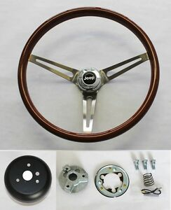 1976-1995 Jeep CJ YJ Wrangler Wood Steering Wheel High Gloss Grip Finish 15""