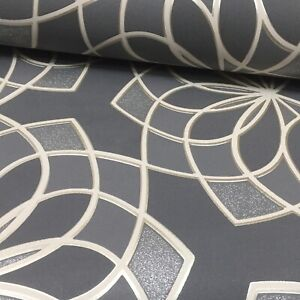 Rasch Retro Geo Spiro Charcoal Dark Grey Silver Glitter Blown Vinyl Wallpaper