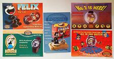 Fossil Watch Advertising Cards Lot of 5 ~ Felix  Popeye  Batman  Spiderman  1994