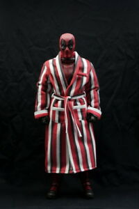 Custom 1/6 Scale Red Strip Bathrobe For Hot Toys DeadPool Figure Body IN STOCK
