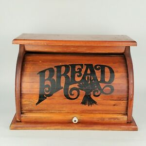 Vintage Bread Box Wood Roll Top Brown Rustic Country Farmhouse